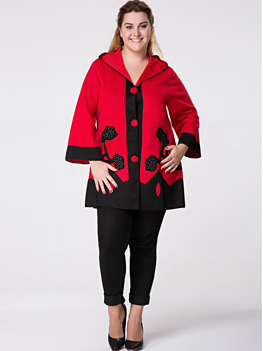 Hooded Single Breasted Color Block Plus Size Coat